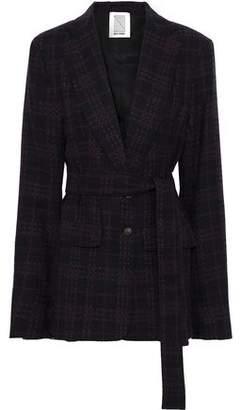 Rosie Assoulin Belted Checked Wool-blend Tweed Jacket