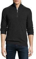 Neiman Marcus Cashmere Half-Zip Sweater, Charcoal