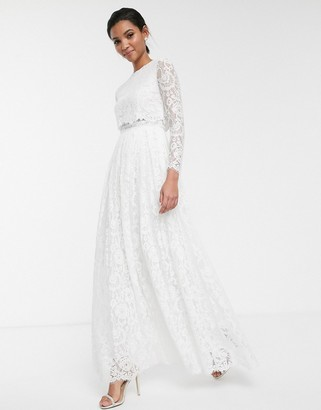 Asos Edition EDITION lace long sleeve crop top maxi wedding dress-White