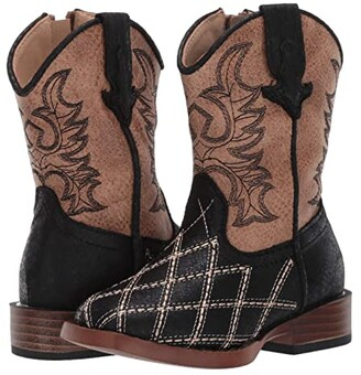 Roper Cross Cut (Toddler) (Black Vamp/Tan Shaft) Cowboy Boots