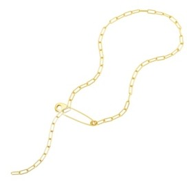 ADORNIA Safety Pin Paper Clip Lariat Necklace