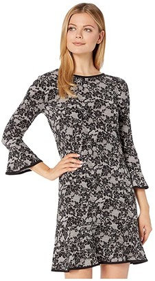 MICHAEL Michael Kors Glam Lace Flounce Dress (Bone/Black) Women's Dress