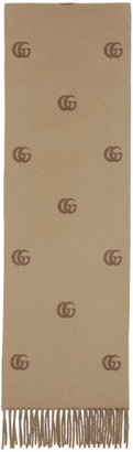 Gucci Beige and Brown Wool Scarf