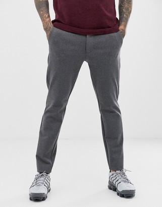 ONLY & SONS slim fit pinstripe smart pants in grey