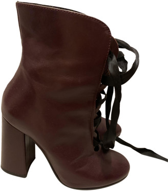 Silvian Heach Burgundy Leather Ankle boots