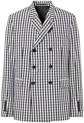 Burberry Gingham Double-Breasted Blazer