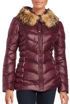 GUESS Long Sleeve Faux Fur Puffer Jacket