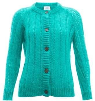Prada Long-line Mohair-blend Cardigan - Womens - Green