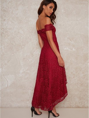 Chi Chi London Mellie Lace High Low Dress - Burgundy