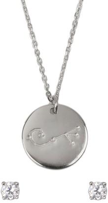 Ice By Jardin Rhodium Plated Sterling Silver Zodiac Pendant Necklace & CZ Stud Earrings Set