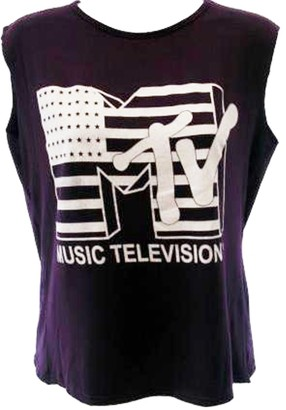 Unknown Ladies Mtv Music Television Print Sleeveless Crop Top Women Cropped T Shirt 8-14 (M/L 12-14