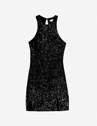 Topshop Sequin-embellished stretch-crepe mini dress