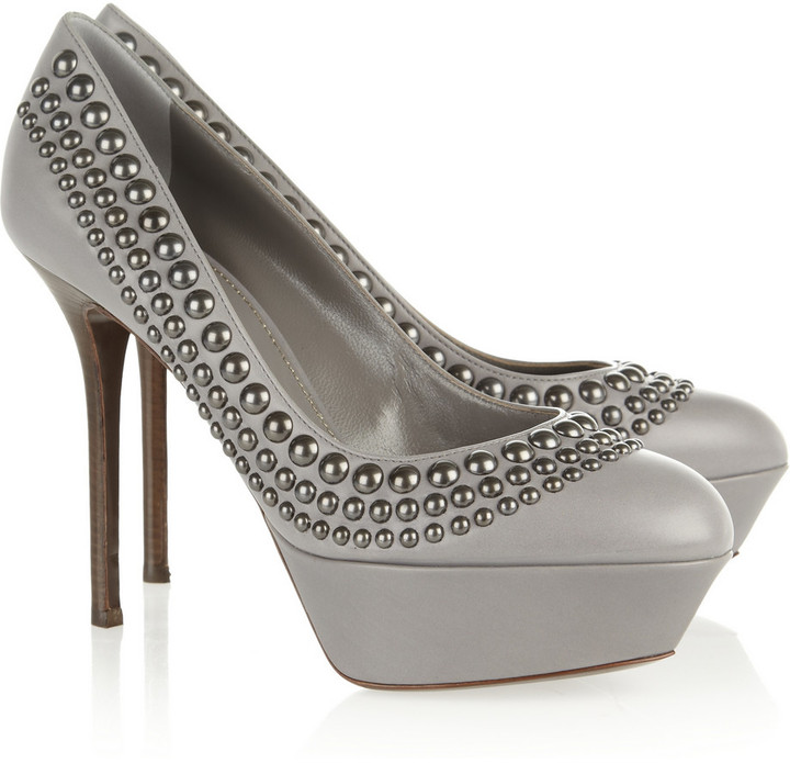Sergio Rossi Stud-embellished leather pumps