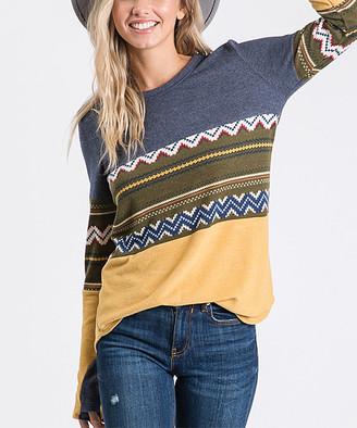 Love, Kuza Women's Tunics Navy/Mustard - Navy & Mustard Geometric Color Block Thumbhole-Sleeve Tunic - Women