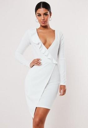 Missguided Petite White Ruffle Wrap Over Mini Dress