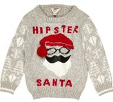 River Island Mini boys grey Santa Christmas sweater