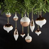 Crate & Barrel Set of 10 Copper and White Mini Ornaments