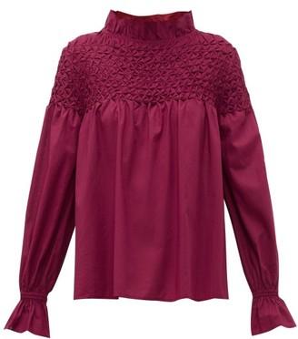 Merlette New York Majorelle Smocked Cotton Blouse - Womens - Burgundy
