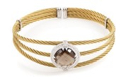 Charriol Celtic Cable 18K Stainless Steel Smokey Quartz & Diamond Bangle