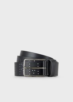 Emporio Armani Leather Belt With Studded Logo