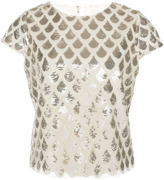 Milly Scale Sequin-Embellished Top