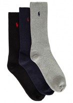 Ralph Lauren Ribbed Cotton Blend Socks - Set Of Three