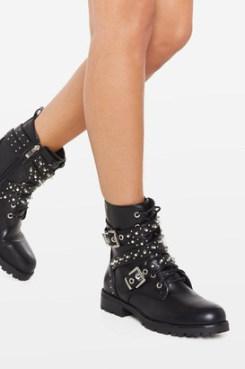 Nasty Gal Womens Studded Lace Up Biker Boots - Black - 3
