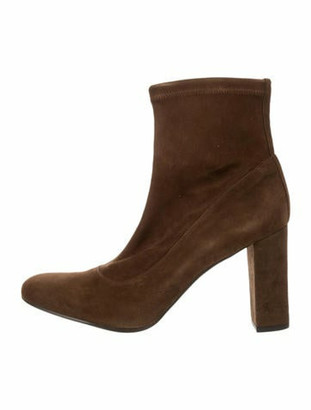 Barneys New York Suede Round-Toe Ankle Boots Brown