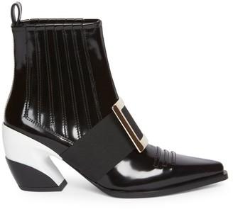Roger Vivier Viv Western Patent Leather Ankle Boots