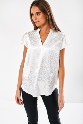 iClothing Ailsa Animal Print Blouse in White