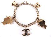 Chanel CC Gold Tone Metal Icon Charm Chain Mademoiselle Bracelet