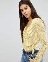 Missguided Polka Dot Tie Side Blouse