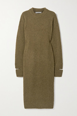 Tibi Alpaca-blend Boucle Midi Dress - Army green