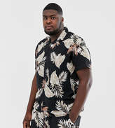New Look Plus co-ord shirt in leaf print