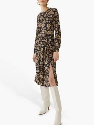 Warehouse Autumn Daisy Midi Dress, Neutral Print