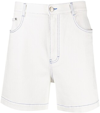 Stella McCartney Logo-Print High-Rise Denim Shorts