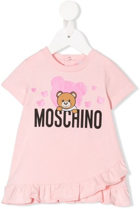 MOSCHINO BAMBINO logo bear print T-shirt dress