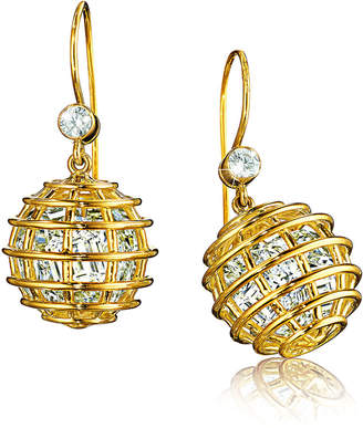Verdura 18k Rock Crystal Caged Drop Earrings