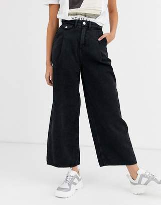 Monki denim wide leg pants with organic cotton in washed black-Blue