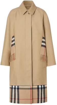 Burberry Scarf Detail Cotton Gabardine Car Coat