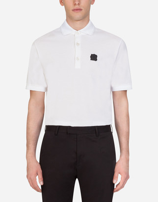 Dolce & Gabbana Pique Cotton Polo Shirt With Patch