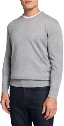 Neiman Marcus Men's Silk-Cashmere Crewneck Sweater