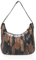 Juicy Couture Black Brown Leather Pleated Single Strap Hobo Handbag