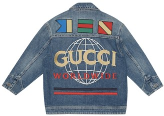 Gucci Kids Logo patch denim jacket