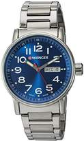 Wenger Men's 'Attitude Day/Date' Swiss Quartz Stainless Steel Casual Watch, Color:Silver-Toned (Model: 01.0341.105)