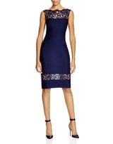 Tadashi Shoji Petites Illusion Lace Pintucked Dress