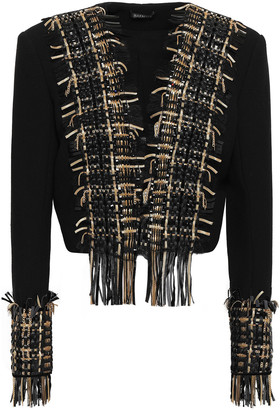 Balmain Cropped Embellished Basketweave-paneled Wool And Silk-blend Jacket