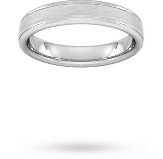 Palladium Goldsmiths 4mm D Shape Standard matt centre with grooves Wedding Ring in 950