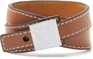 Loewe Anagram Logo-Detailed Silver-Tone And Leather Wrap Bracelet