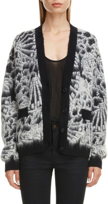 Saint Laurent Floral Jacquard Wool & Mohair Blend Cardigan